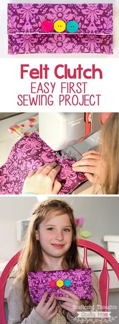 http://www.scatteredthoughtsofacraftymom.com/2015/01/easy-felt-clutch-beginner-sewing-project.html This easy Felt Clutch Purse is a great first project for any beginning sewist!