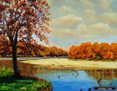 noenga.com :(c) Daniel Fishback (UNITED STATES) :: Pelican Island in Sioux Passage Park St. Louis Cou :: Landscape : Impressionistic : Painting : Oil : I painted this painting from one of a number of photos I took this year at Sioux Passage Park. Sioux Passage is one of my favorite places near my home. I often ride my bike over to the park and ride through it and down to the Missouri River. The park is very hilly so I get a good workout. I usually take some watercolors or a sketch pad with…