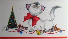 #71 50s Mama Cat & Her Playful Kittens-Vintage Unused Christmas Greeting Card