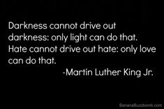Darkness cannot drive out darkness: only light can do that. Hate cannot drive out hate: only love can do that. -Martin Luther King, Jr. - http://aboutmartinlutherking.com/?p=74