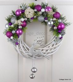 EXCLUSIVE XMAS CHRISTMAS WREATH PINK WHITE SILVER HANDMADE in Home, Furniture & DIY, Home Decor, Dried & Artificial Flowers | eBay