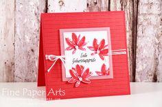 Stampin Up - Geburtstagskarte, Birthday card, Stempelset Gartengrüße, DSP Traum vom Fliegen, Melonensorbet, Sale-A-Bration 2017 - Fine Paper Arts
