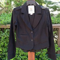 REDUCEDNWOT Chic Black Blazer W/ Pretty Detail High end, trendy boutique purchase, and just discovered in closet. So cute, but have similar ones. Label is large, but fits a med. Longer fabric piece, hanging down in back. Very unique!! 100% cotton. Delicate wash/ hang dry. Salt & Pepper Jackets & Coats Blazers