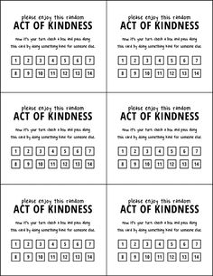 "LDS Girl's camp service project idea: ""random act of kindness"" pass-along cards"