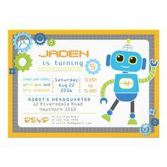Robot Invitation / Robot Party / Robot Birthday.  $1.80