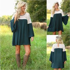 JUST I ❗️green long sleeve dress Bell green long sleeve dress with lace detail. Small (2-4) Medium (6-8) Large (10-12). Dresses Long Sleeve