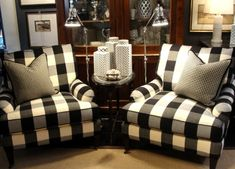 Using buffalo check in design can take you all the way from country to modern depending on it's use. Find design ideas for the use of buffalo check and gingham in the living room, bedroom, kitchen, and dining room. Furniture Decor, Modern Furniture, Furniture Design, Victorian Furniture, Furniture Showroom, Scandinavian Furniture, Street Furniture, Distressed Furniture, Furniture Vintage