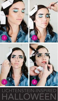 Best Halloween Makeup Tutorials - Lichtenstein Inspired Halloween Makeup - Easy Makeup Tips and Tutorial Ideas for The Best Halloween Costume - Animals, Eyes, Creative Faces, Simple and Scary Ghosts, Skeletons and Creatures - Zombie Makeup, Cute Looks, DIY Vampire, Gypsy, Mermaid and Creepy Sugar Skull, Cool Glam Looks for A Halloween Party and Instagram Photos - Ideas for Couples and Kids Mode Halloween, Halloween Make Up, Halloween Face Makeup, Halloween Costumes, Halloween Party, Makeup Fx, Pop Art Makeup, Zombie Makeup, Easy Makeup