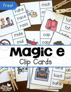 e Clip Cards The magic E has his own set of cards! Check out these hands on clip cards that work on the the magic of the letter E!The magic E has his own set of cards! Check out these hands on clip cards that work on the the magic of the letter E! Phonics Reading, Teaching Phonics, Phonics Activities, Teaching Reading, Reading Intervention Activities, Dyslexia Activities, Dyslexia Teaching, Pre Reading Activities, Phonics Lessons