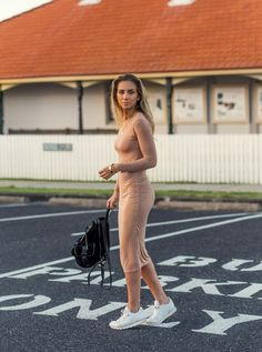 nude dress with white canvas sneakers