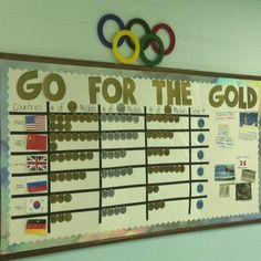 My Olympics bulletin board/medal tracker. Came out pretty great! Each medal has tally marks on it, and I posted facts and athletes on the right side to keep my kiddos updated. MY NOTE: Rather than countries, could use for Band Kids, and THEIR awards. Olympic Idea, Olympic Games, Olympic Gymnastics, Gymnastics Quotes, School Themes, Classroom Themes, School Ideas, Classroom Design, Office Olympics