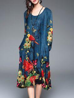 Blue Floral-print  Long Sleeve Shift Midi Dress