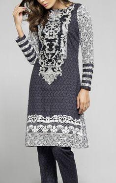 Dark Gray/White Embroidered Cambric Dress (2pc) Contact: (702) 751-3523  Email: info@pakrobe.com  Skype: PakRobe
