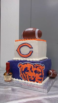 Chicago Bears Groom's Cake | ... cake cutting ceremony ... Chicago Bears football and Maker's Mark