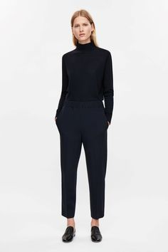 COS image 6 of Trousers with gathered waistline in Navy
