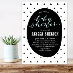 Modern Baby Shower Invitation Geometric Triangles Trendy Black And White Boy Unique Digital Printable
