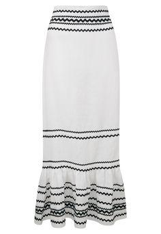 RIC RAC FIESTA MAXI SKIRT Ribbon Diy, Tie Blouse, Summer Looks, Beachwear, Lace Skirt, Shapes, Black And White, Sewing, Chic