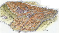Reconstruction of Volubilis in the early 3rd century C.E. Legend: 1) city walls, 2) Tangier Gate, 3) Decumanus Maximus, 4) West Gate, 5) Temple of Jupiter, 6) Chapel of Venus, 7) Basilica, 8) Forum, 9) Baths of Gallien, 10) Baths of the Tangier Gate, 11) House of Orpheus, 12) House of the Columns, 13) Palace of Gordian, 14) necropolis, 15) columbarium, 16) aqueduct, 17) fountain, 18) potters' quarter, 19) Arch of Caracalla. (source: Géo Magazine, #312, Feb. 2005, p. 51)