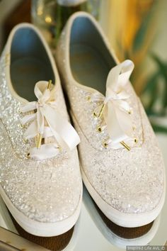 Wedding shoe ideas - Sparkly flat white sneakers + comfortable shoes for the bride {Inspired Life AVL}