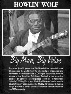 "Black History Fact #14:  Chester Arthur ""Howlin' Wolf"" Burnett was one of the most important blues singers, songwriters and musicians, influencing popular rock groups like The Beatles. Unlike many blues artists, Howlin' Wolf maintained financial success throughout his life, held a stable marriage, and avoided drugs and alcohol."
