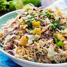Mexican Coleslaw is loaded with South of the Border flavors and is perfect for any cookout or BBQ. It also pairs well with tacos, fajitas, and the like. A cool, creamy, and crunchy coleslaw Creamy Coleslaw, Coleslaw Mix, Best Mexican Recipes, Ethnic Recipes, Favorite Recipes, Tacos, Cooking Recipes, Healthy Recipes, Side Recipes