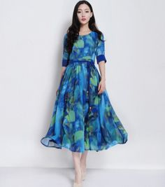 Floral Print Aline Dress Wedding Bridesmaid Bohemian by ChineseHut, $179.00