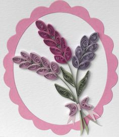 Quilled birthday card, paper quilling, lavender, handmade greeting. £6.00, via Etsy.