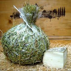 a slice of Tuscan pecorino cheese matured in the hay, very good...