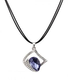 Diamond-Shape and Faceted Purple Gemstone Necklace. Fashion Women's / Girls Costume Pendant Necklaces for Party.