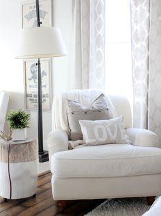 White chaise reading nook sitting corner