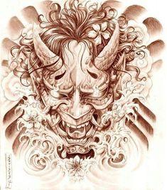 Geisha and Hannya Tattoo Design by on DeviantArt Oni Tattoo, Hannya Maske Tattoo, Raijin Tattoo, Hanya Tattoo, Demon Tattoo, Samurai Tattoo, Tatuajes Tattoos, Bild Tattoos, Neue Tattoos
