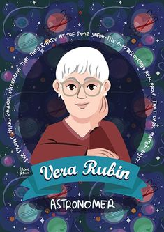 Vera Rubin science poster women in science | Etsy Dark Galaxy, National Academy, Academy Of Sciences, Dark Matter, Women In History, Galaxies, Colours, Illustration, Anime