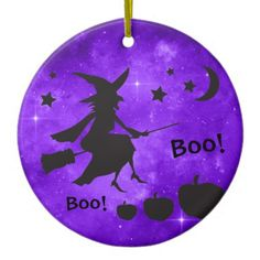 The Witch is in the House Halloween Purple Sky Ceramic Ornament - home gifts ideas decor special unique custom individual customized individualized