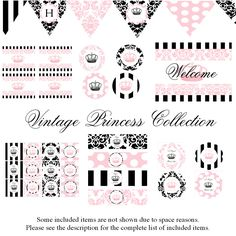 Vintage Princess Decorations for Birthday Party or Baby Shower - Girls Damask DIY Printable Decor by BeeAndDaisy - Instant Download. $12.00, via Etsy.
