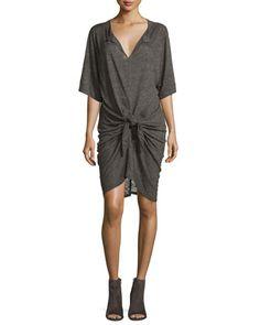 Arwen+Tie-Front+Linen+Dress,+Dark+Gray+by+IRO+at+Neiman+Marcus.