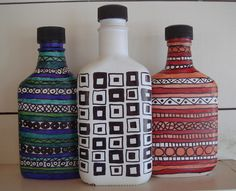 recycled bottles...use a sharpie.  Fun!