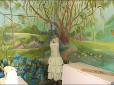 Part of a large mural I painted for the Sacred Sewing Room program by Enchanted Makeovers. www.enchantedmakeovers.org