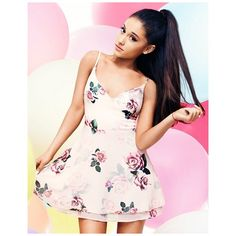 Ariana Grande For Lipsy Rose Print Layered Skater Dress (110 BRL) ❤ liked on Polyvore featuring dresses, floral dresses, skater dresses, floral print dress, spaghetti-strap dress and pink dress