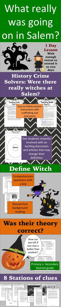 What the heck is a witch? Is it the stuff of Harry Potter? Has our definition of witches changed over time? Put your super sleuths to work and use it as a jump off activity for colonization, The Crucible, or a fun activity for Halloween. After engaging students in a discussion of what a witch is, have them read a short expository essay about how witches were described during the time of the Salem trials. Discussion questions are provided to have students reassess their definitions.