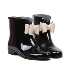 $10.04 Sweet Women's Rain Boots With Bowknot and Color Matching Design