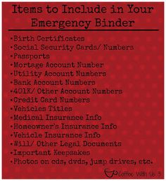 Making an Emergency Binder - things I need to know