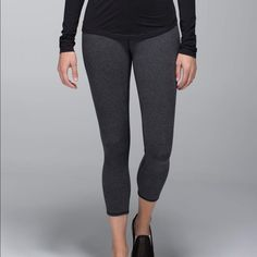 Lululemon cropped grey cotton Wunder Unders These are cotton not the normal Luon, super comfortable for class, weekends, etc.! Good condition. lululemon athletica Pants Track Pants & Joggers