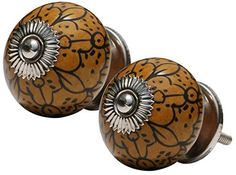 Set of 2 Ceramic Brown Knobs - Hardware Included - Round Knobs / Drawer Pulls / Handles - Decorative Doors / Dresser / Cabinets / Cupboards / Vanity Accessories from SouvNear