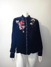 JOHNNY WAS Women's Denim Blue Velvet Floral Embroidered Shirt Size XL