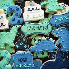 Icings by Ang Dino Birthday Cookies Dinosaur First Birthday, Baby Boy First Birthday, Dinosaur Party, Fun Cookies, Sugar Cookies, Cake Cookies, Lightning Mcqueen Birthday Cake, Dinosaur Cookies, Novelty Birthday Cakes