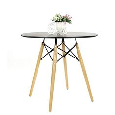 Dining Table Modern Round Glass Clear Table for Kitchen Dining Room Coffee Table with Wood Legs (Black Table) Black Round Dining Table, Round Wooden Coffee Table, Outdoor Dining Set, Garden Table And Chairs, Table And Chair Sets, Dining Table Chairs, Family Furniture, Dining Room Furniture, Plastic Dining Chairs