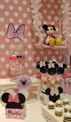 Minnie Mouse baptism party cookies! See more party planning ideas at CatchMyParty.com!