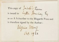 virginia woolf Google Search - subscriber's ticket signed by Virginia Woolf