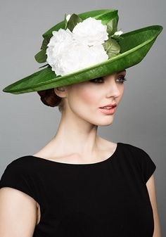 Rachel Trevor Morgan Millinery S/S 2015, R1595 Green fine straw side sweep with white roses