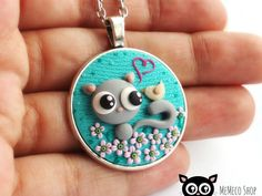 "Polymer Clay Pendant Necklace Cat -""Let me tell you a secret....I Love You! ""by MemecoShop"